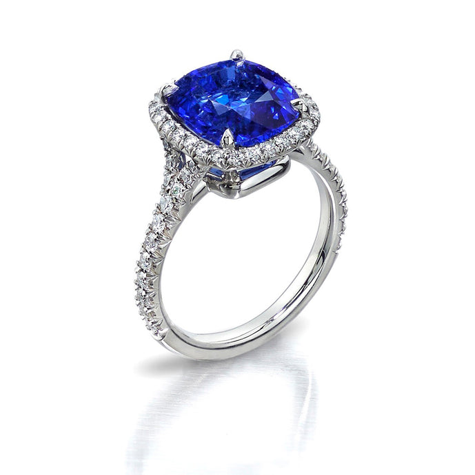 Blue Sapphire Pave Ring