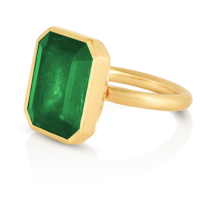 Solitaire Bezel Set Emerald Ring