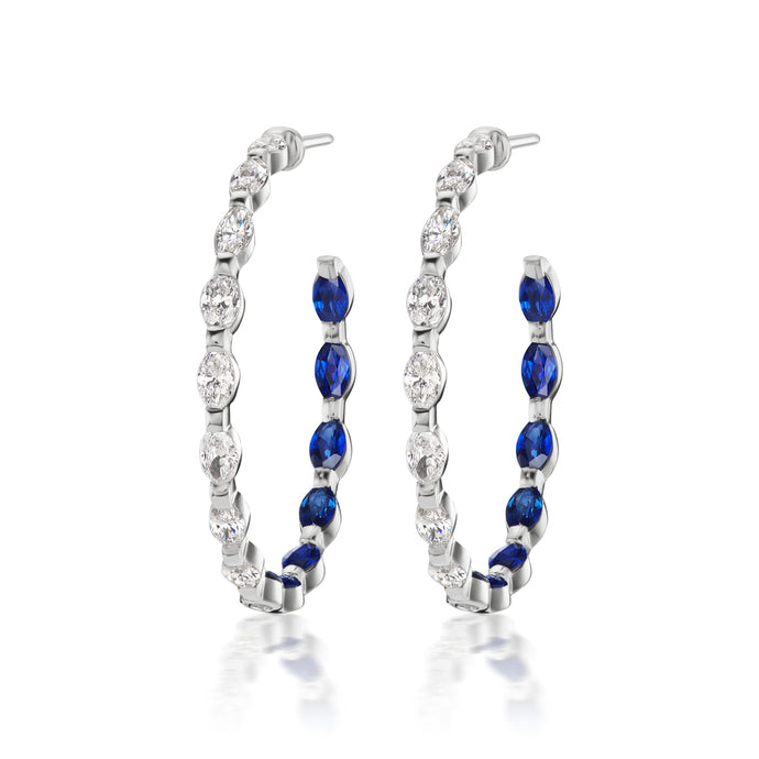 Marquise Sapphire and Diamond Hoop Earrings