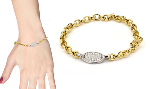 18 karat and white and yellow gold and diamond bracelet
