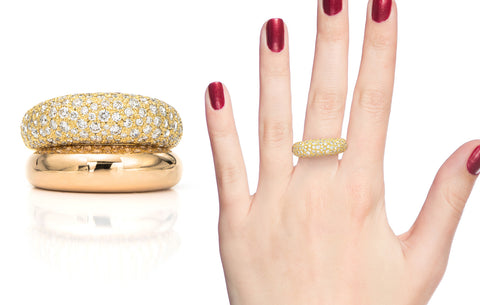 18 karat gold pave rings