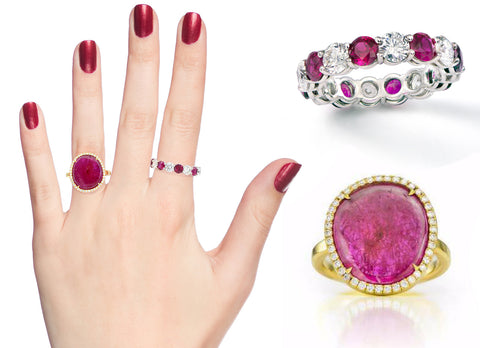Ruby ring and eternity band