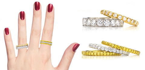 diamond eternity bands and yellow diamond band ring