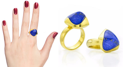 lapis and 18 karat gold rings