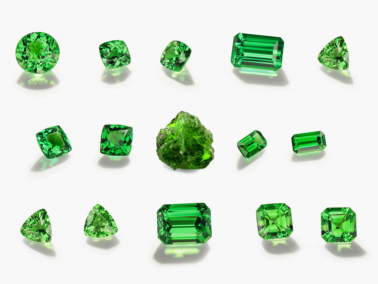 Group of loose tsavorite gemstones