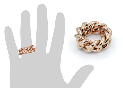 rose gold chain link ring on Handb