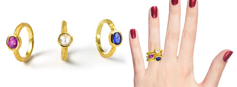 stackable colored stone rings