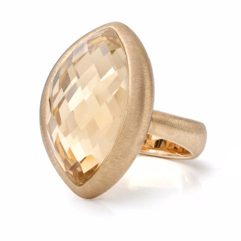 Image of Faceted Rock Crystal in 18K Rose Gold Ring