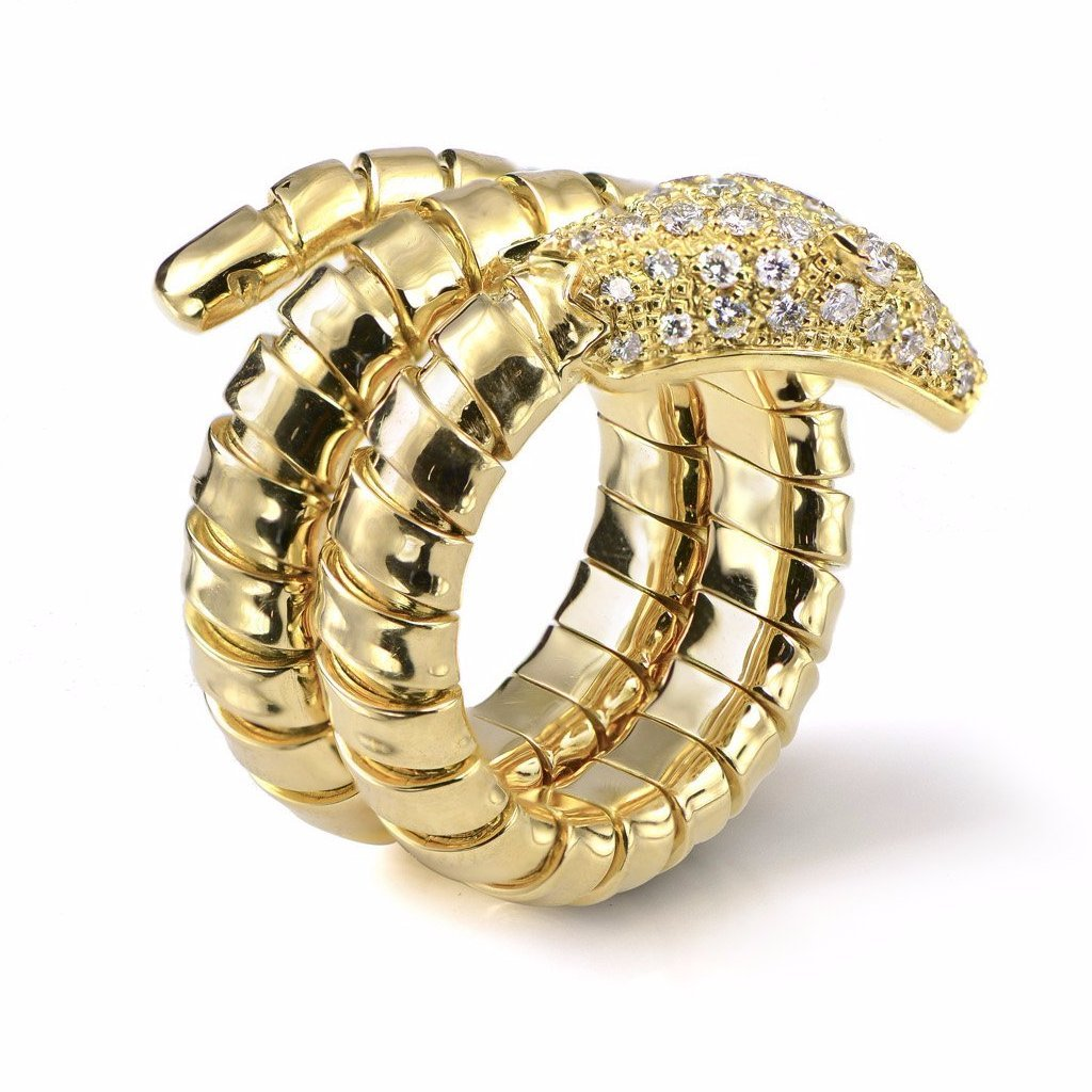 18K Articulated Snake & Diamond Pave Ring