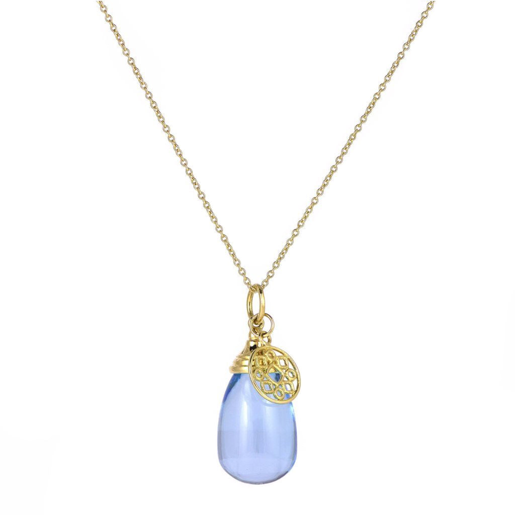 18K Blue Topaz Drop Pendant on 18-inch Chain