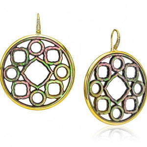 18K Gold & Black Mother of Pearl Hoop Earrings