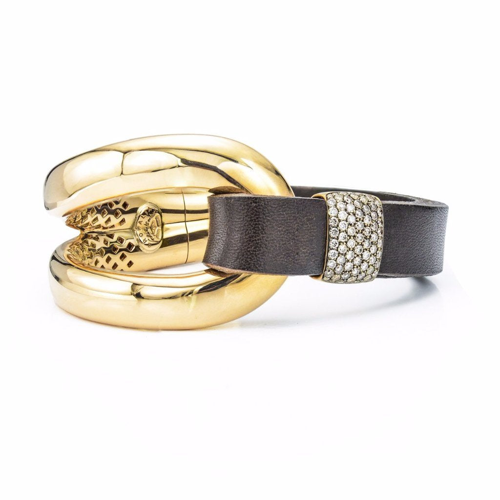 18K Gold, Brown Leather & Diamond Pave Cuff Bracelet
