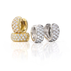 18K Gold & Damond Pave Huggies