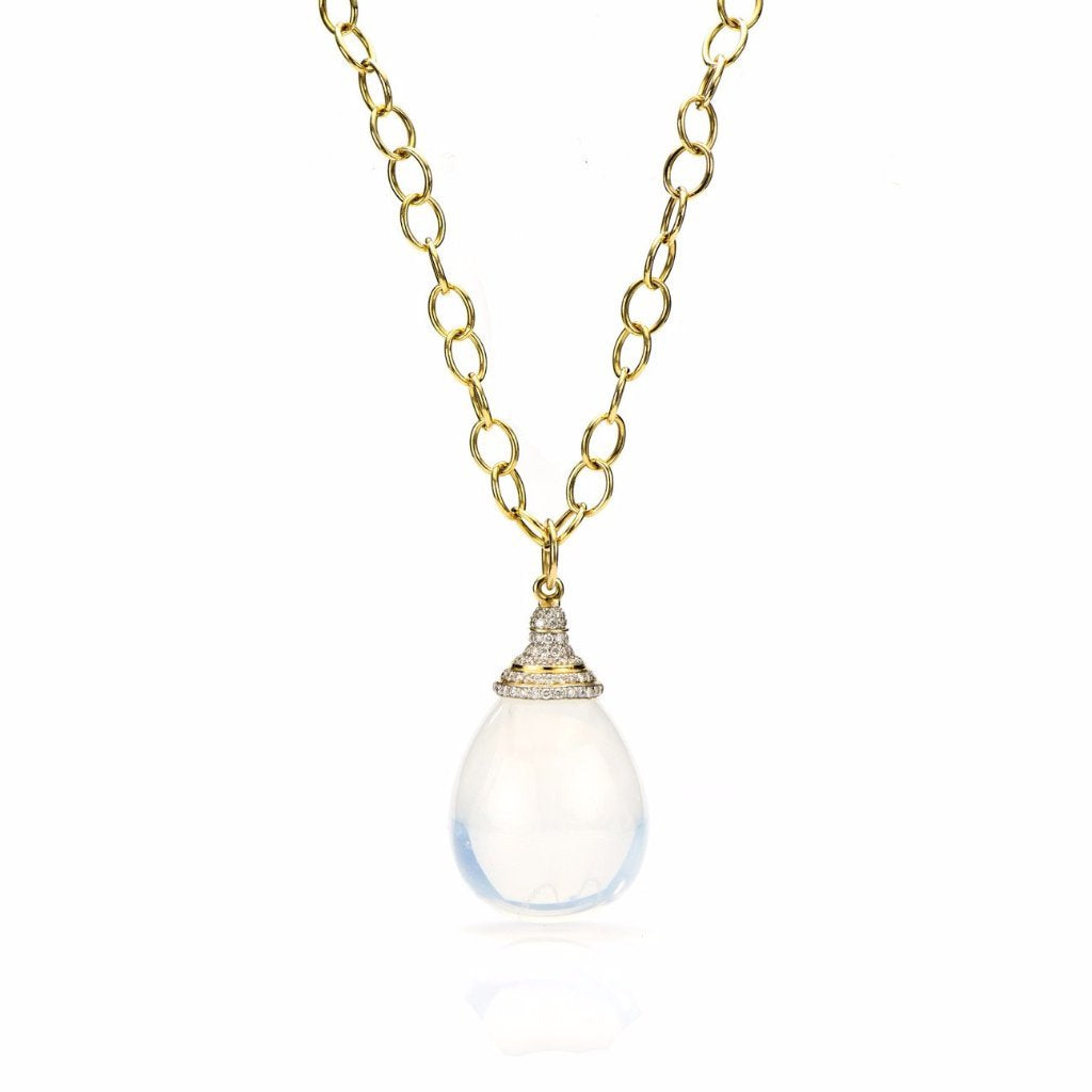 18K Gold, Diamond Pave & Moon Quartz Drop Pendant