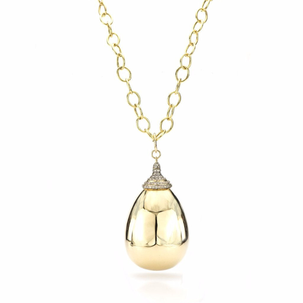 18K Gold Drop Pendant