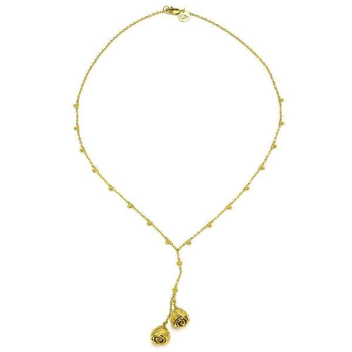 18K Gold Lariat Drop Pendant Y Necklace
