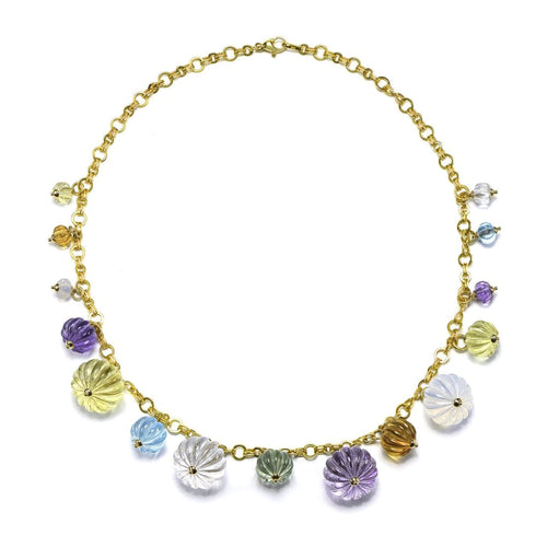 18K Gold & Multi Gem Necklace