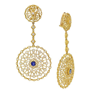 18K Gold, Sapphire, and Diamond Pendant Earrings