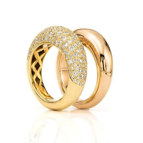 18K Pink Gold Dome Ring with 18K Pave Diamond Dome Ring