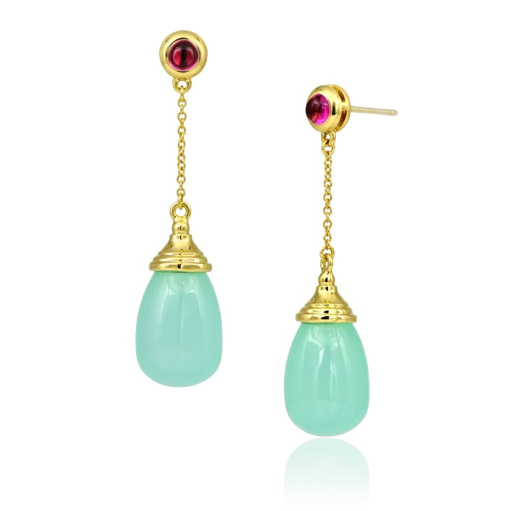 18K, Rubellite & Chalcedony Drop Earrings