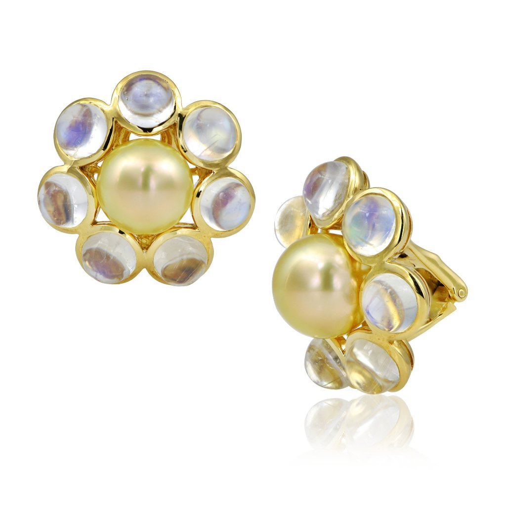 18K, South Sea Pearl & Moonstone Earrings