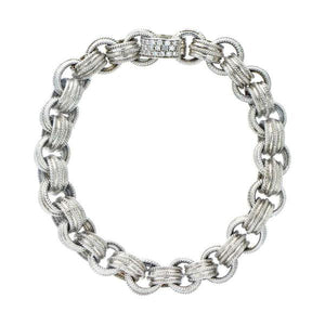 18K White Gold & Diamond Pave Clasp Bracelet