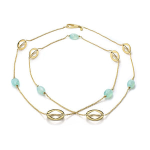 18K Yellow Gold & Aqua Long Necklace