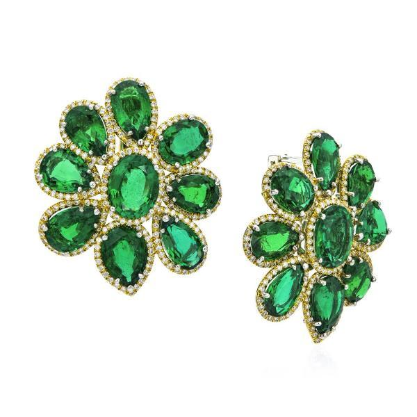 18K Yellow Gold, Diamond Pave & Emerald Cluster Earrings
