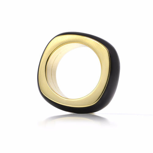 18K Yellow Gold & Ebony Ring