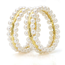 Load image into Gallery viewer, 18K Yellow Gold  & South Sea Pearl Bangle Bracelet