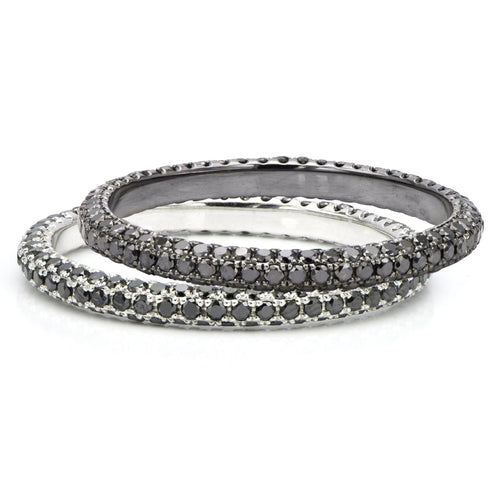 18k White Gold & Black Diamond Eternity Bands