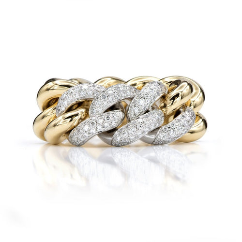 18K Yellow Gold and Diamond Link Chain Ring