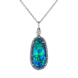 4.20 Carat Opal and Diamond Pendant with Paraiba Pave Halo