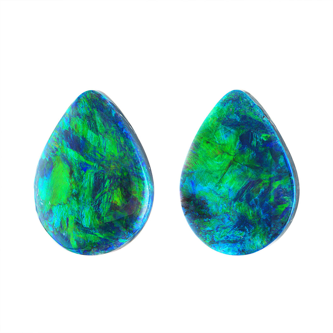 33.07 Carat Pair of Pear Shape Black Opals