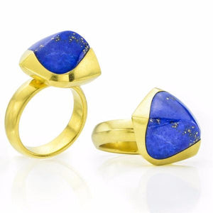 20K Yellow Gold & Lapis Pyramid Stacked Ring