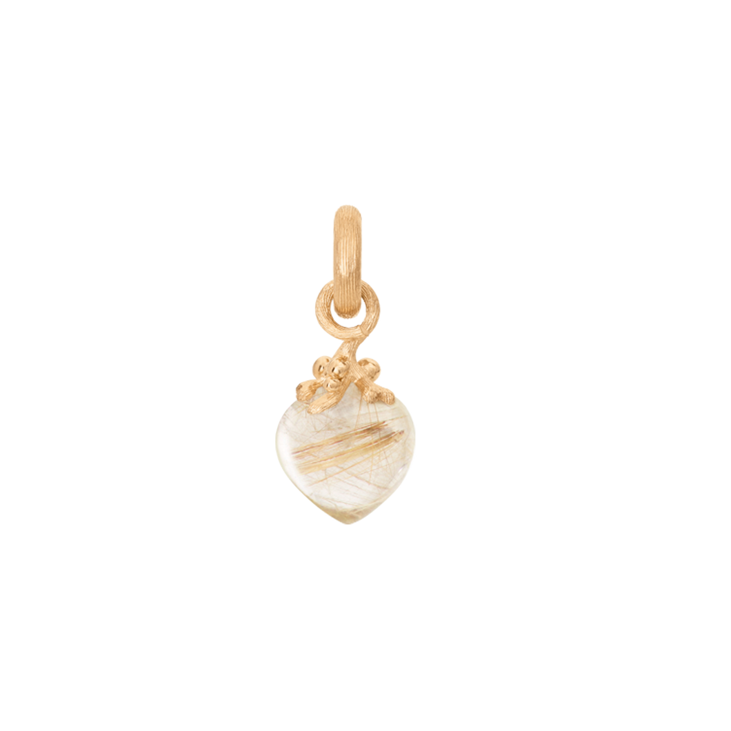 Sweet Drops Charm in 18K Yellow Gold with Rutile Quartz
