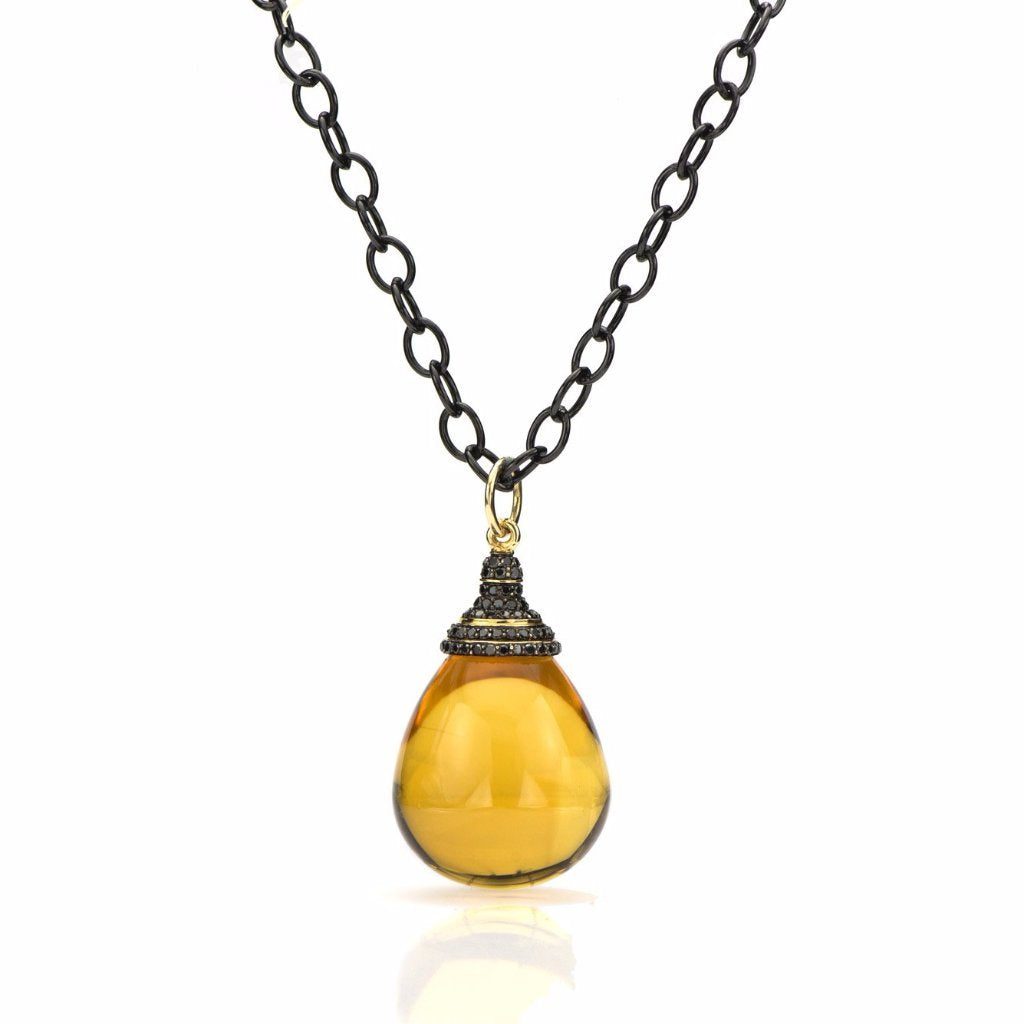 Citrine & Black Diamond Drop Pendant