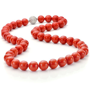 Coral Necklace with Diamond Clasp