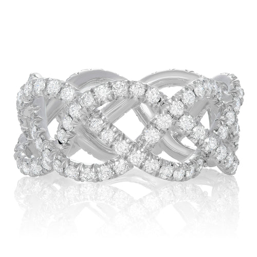 Platinum & Diamond Pave Three Row Woven Ring