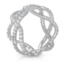 Load image into Gallery viewer, Platinum & Diamond Pave Three Row Woven Ring