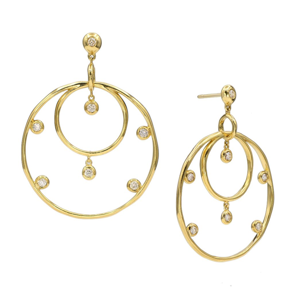 18 Karat Gold and Diamond Hoop Earrings