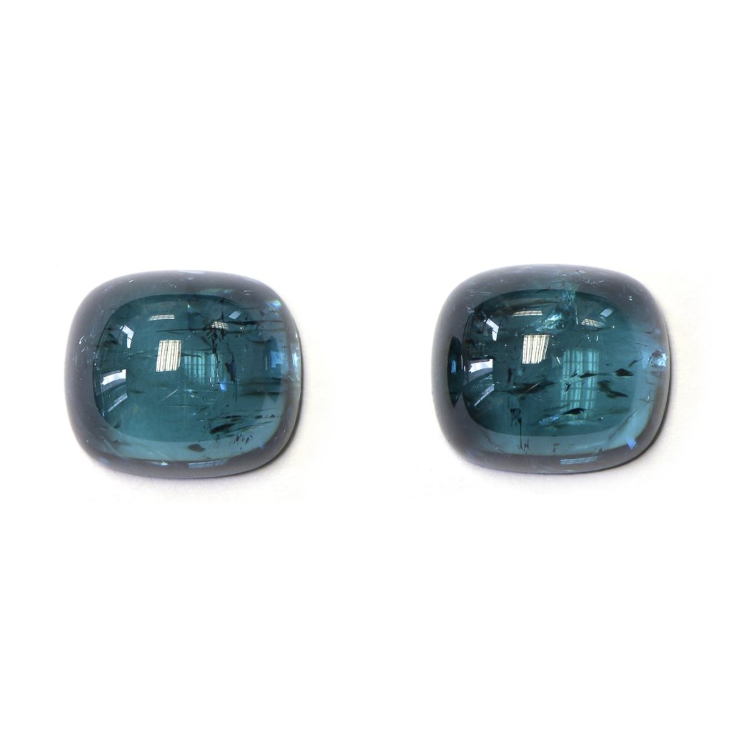 Pair of Cushion-cut Cabochon Indigolite