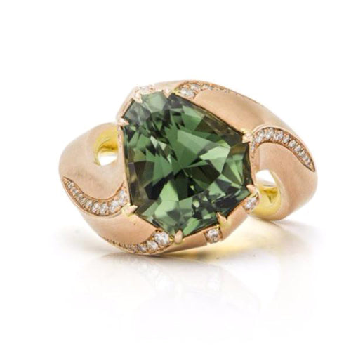 Fancy Tourmaline, 18K Pink Gold & Yellow Gold & Diamond Ring