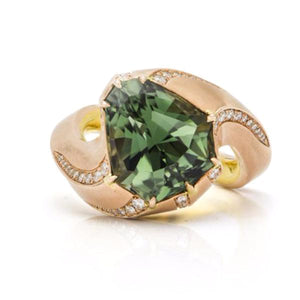 Fancy Tourmaline, 14K Pink Gold & 20K Yellow Gold & Diamond Ring