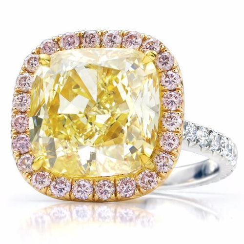 Fancy Yellow Cushion Diamond & Natural Pink Diamond Pave Frame Ring