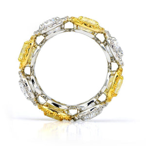 Fancy Yellow and White Diamond Halo Eternity Ring