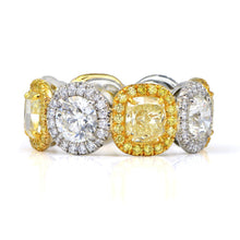 Load image into Gallery viewer, Fancy Yellow and White Diamond Halo Eternity Ring