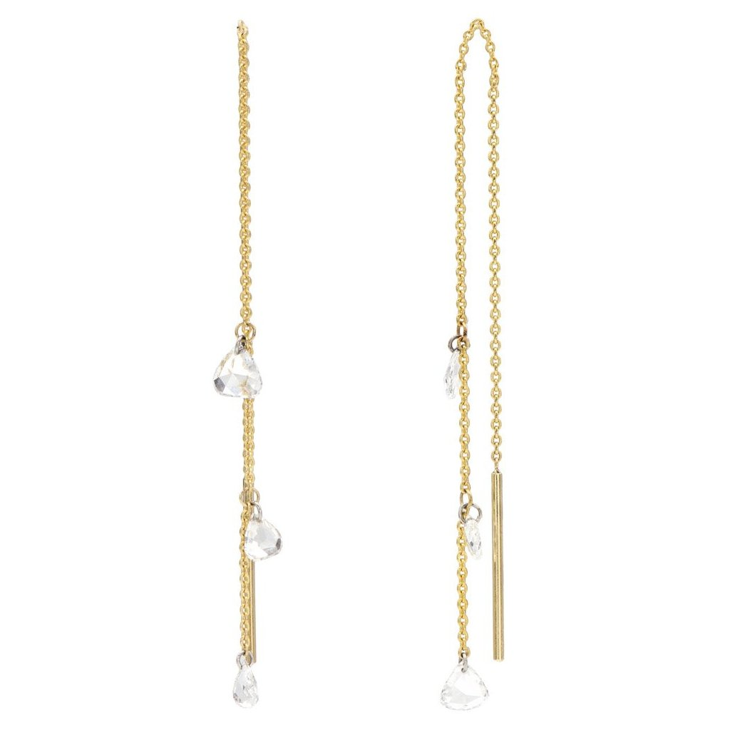 18K Gold and Drilled Diamond Threader Drop Earrings