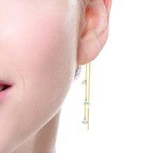 Load image into Gallery viewer, 18K Gold and Drilled Diamond Threader Drop Earrings
