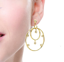 Load image into Gallery viewer, 18 Karat Gold and Diamond Hoop Earrings
